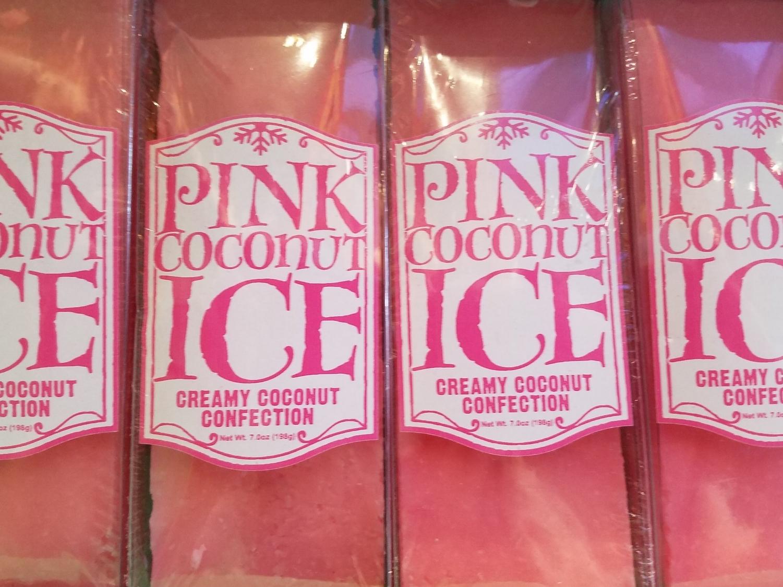 Pink Coconut Ice at at Sugarplum's Sweet Shop.