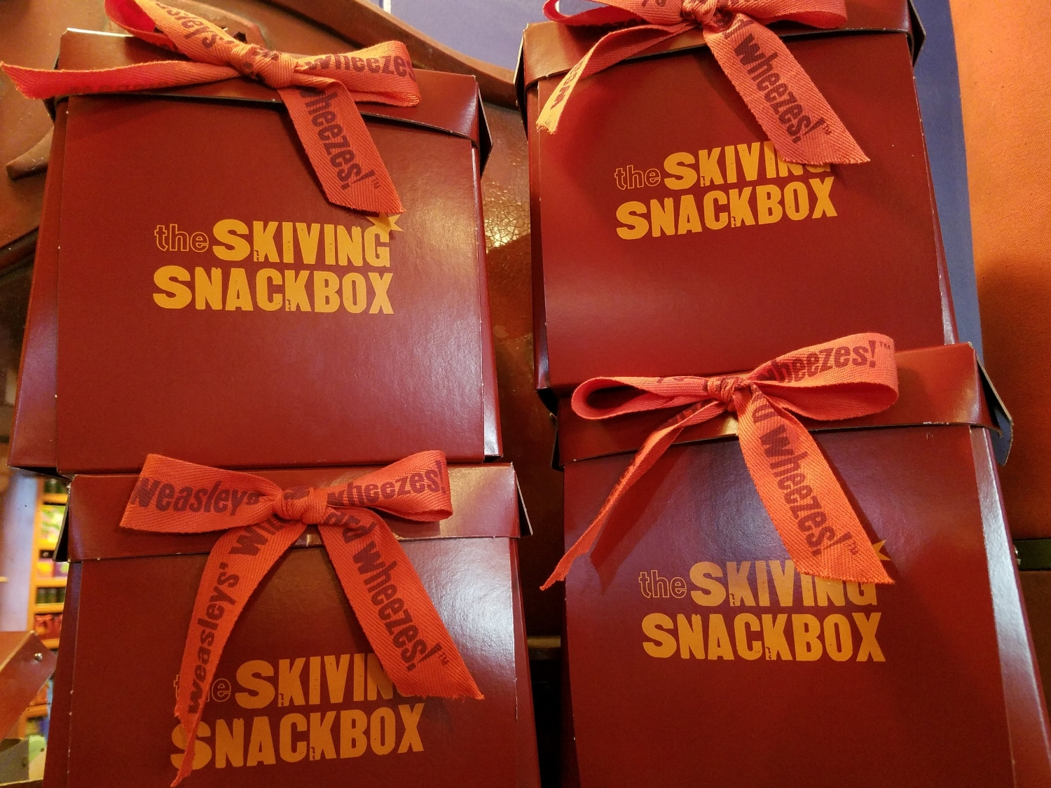 Skiving Snackboxes for sale at Weasley's Wizard Wheezes.