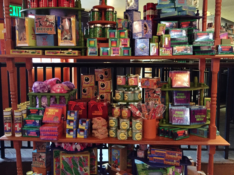 Merchandise display at Weasley's Wizard Wheezes.