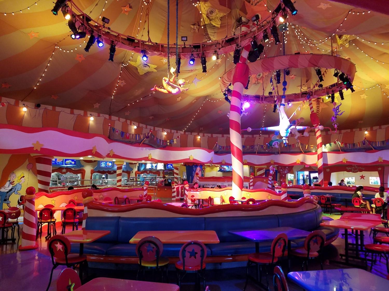 The dining area inside The Circus McGurkus Café Stoo-Pendous
