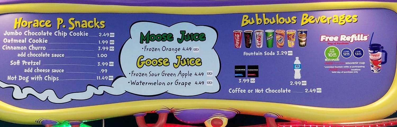 The Moose Juice Goose Juice menu