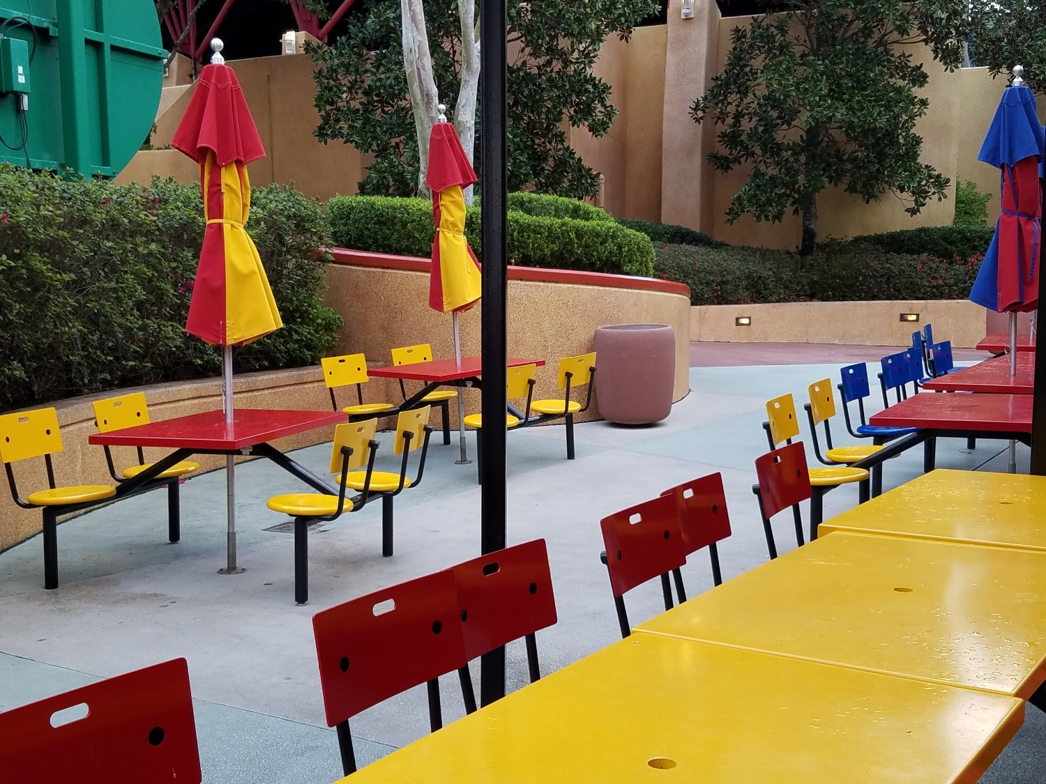 Outdoor seating at Comic Strip Cafe