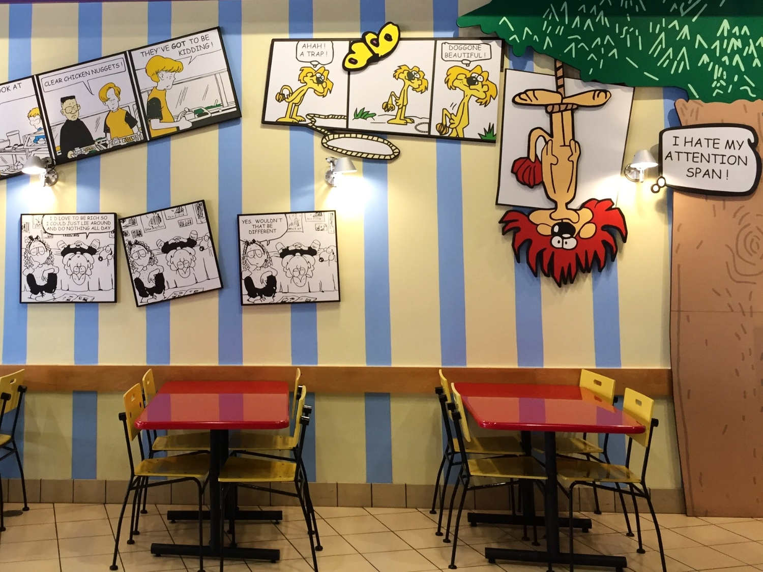 Indoor seating at Comic Strip Cafe