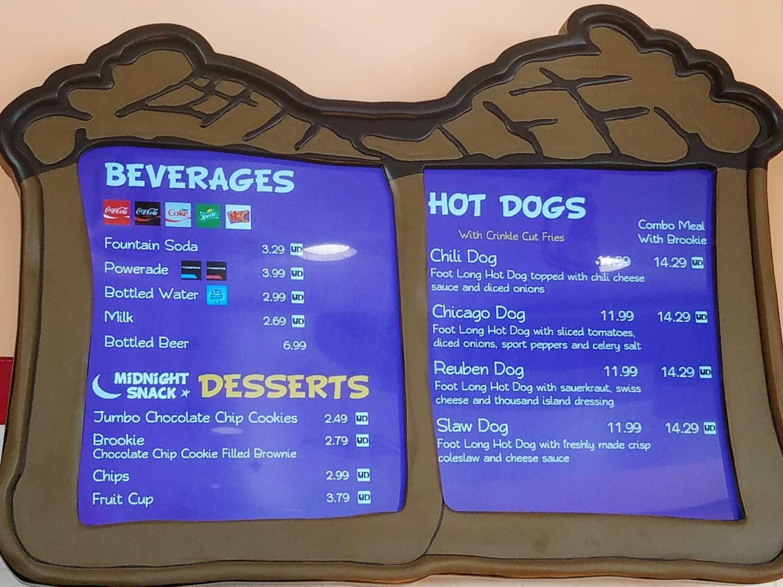 Blondie's hot dog, dessert, and beverage menu