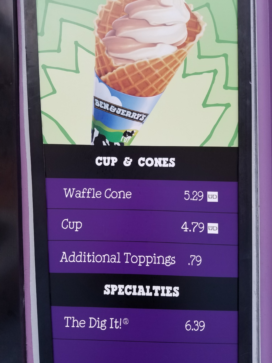 Cathy's Ice Cream Menu 1