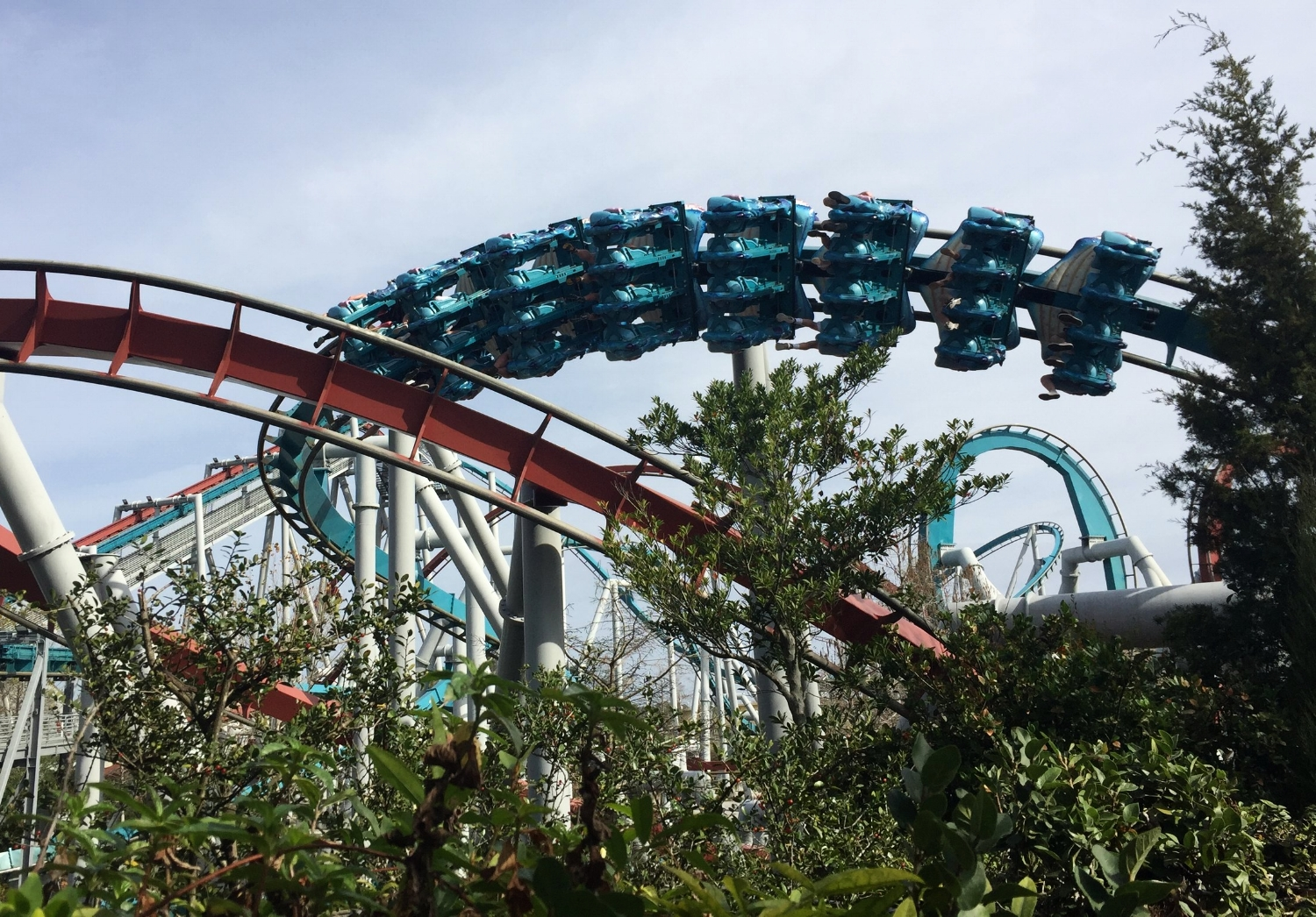 The Dragon Challenge is a pair of intertwined roller coasters.