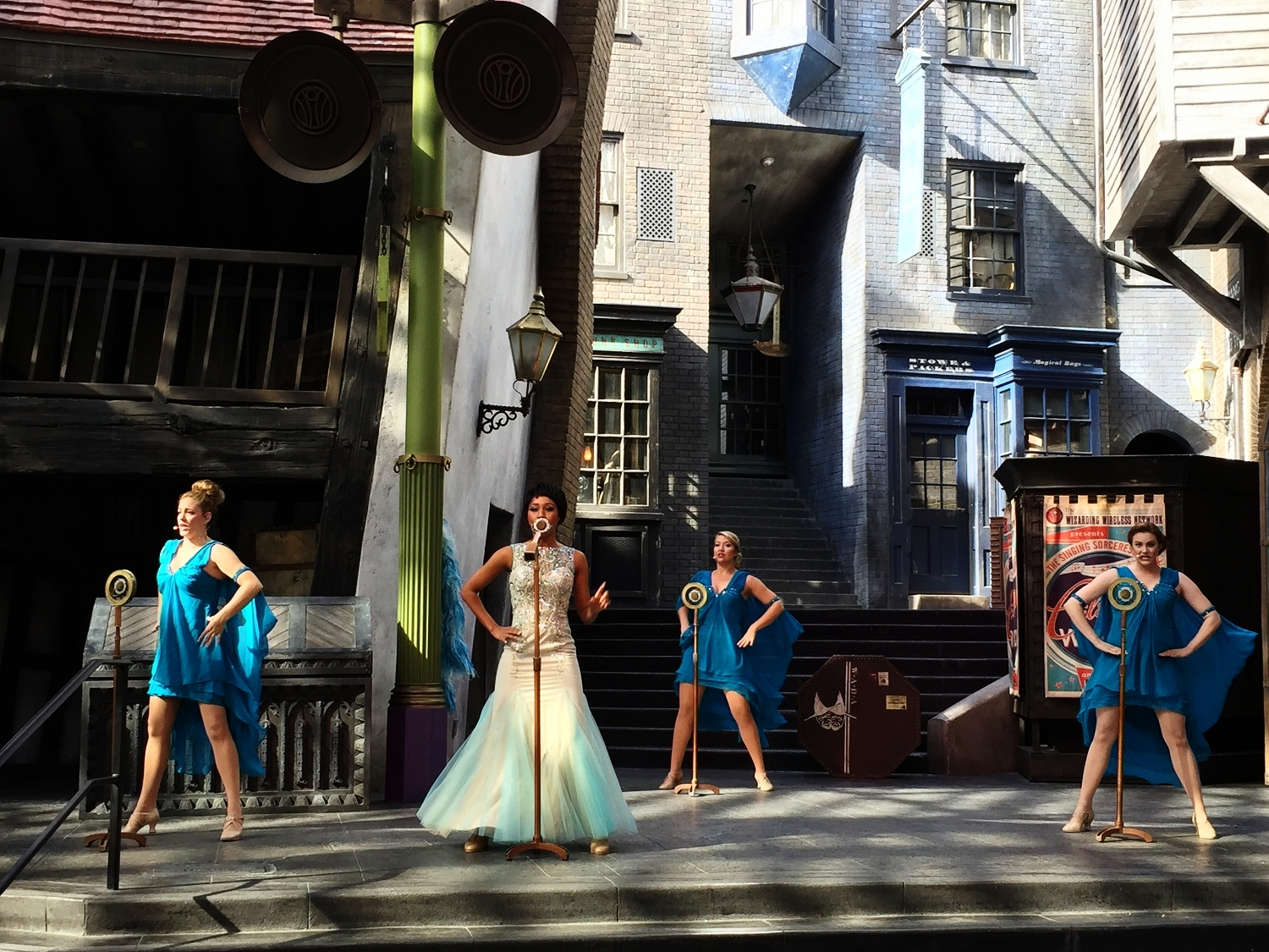 Celestina Warbeck and the Banshees performing on stage in Diagon Alley.