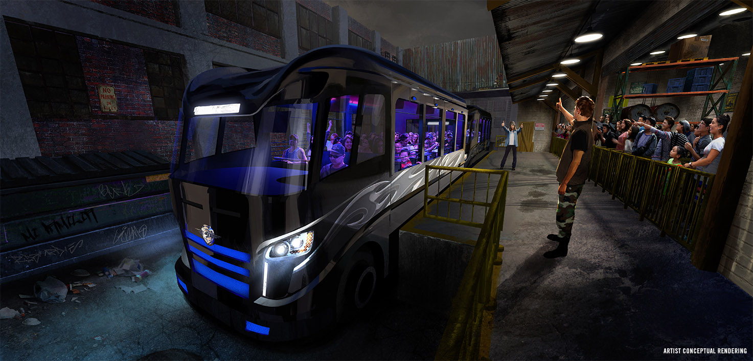 Artist rendering of the Fast & Furious: Supercharged ride vehicle. Image credit: Universal Orlando Resort.