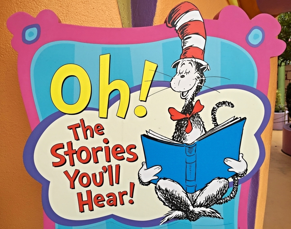 Oh! The Stories You'll Hear sign outside All the Books You Can Read.