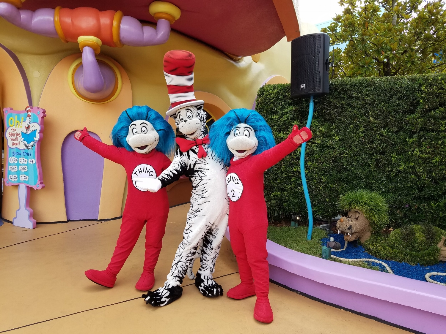 Cat in the Hat, Thing 1, and Thing 2 in Seuss Landing