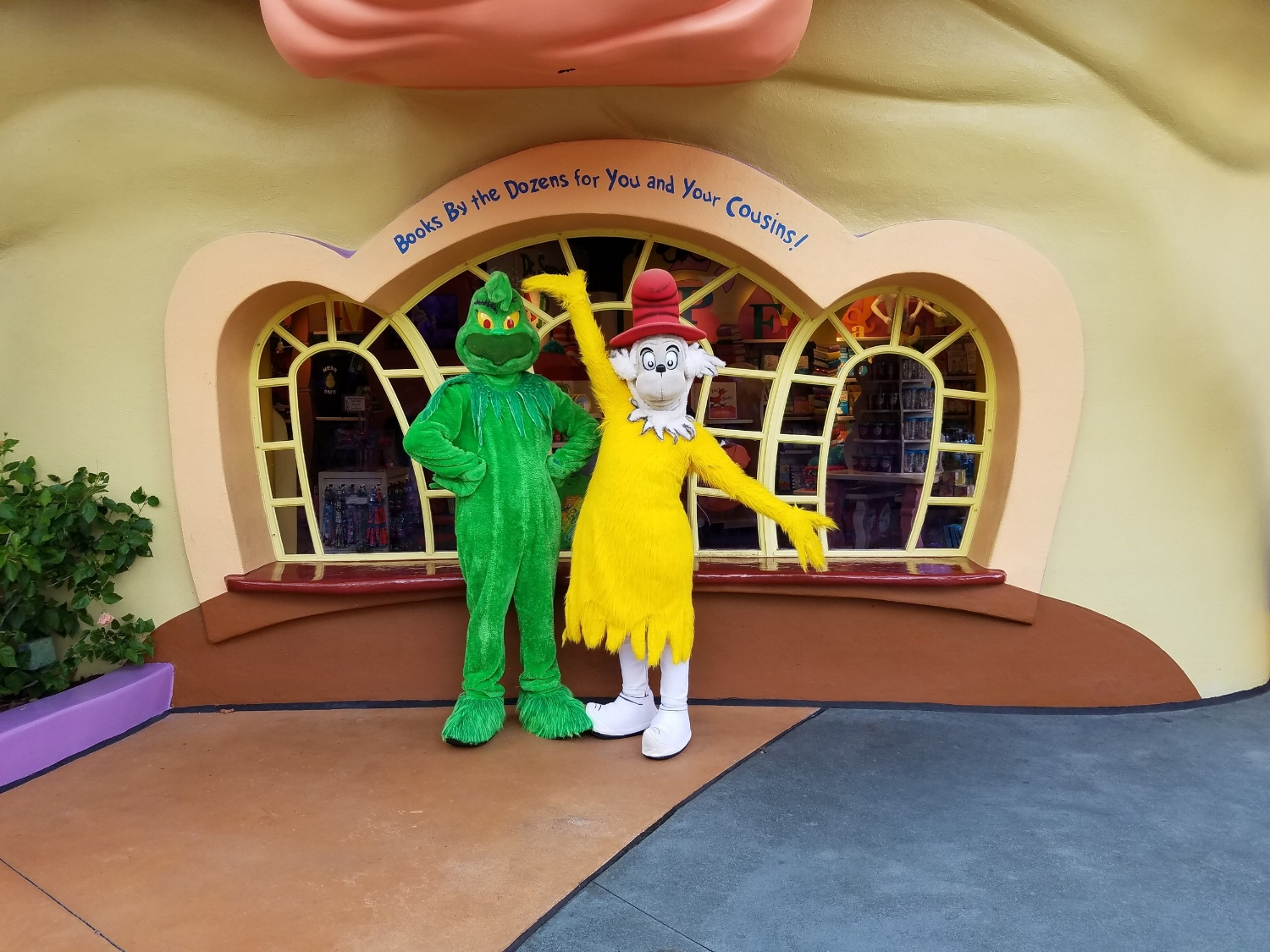 The Grinch and Sam I Am in Seuss Landing
