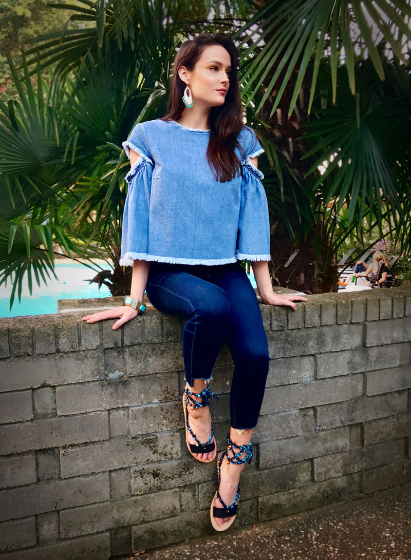 Chambray top by Tanya Taylor, Mother Denim Ankle Fray jeans, Ancient Greek sandals, jewelry by Ashley Pittman