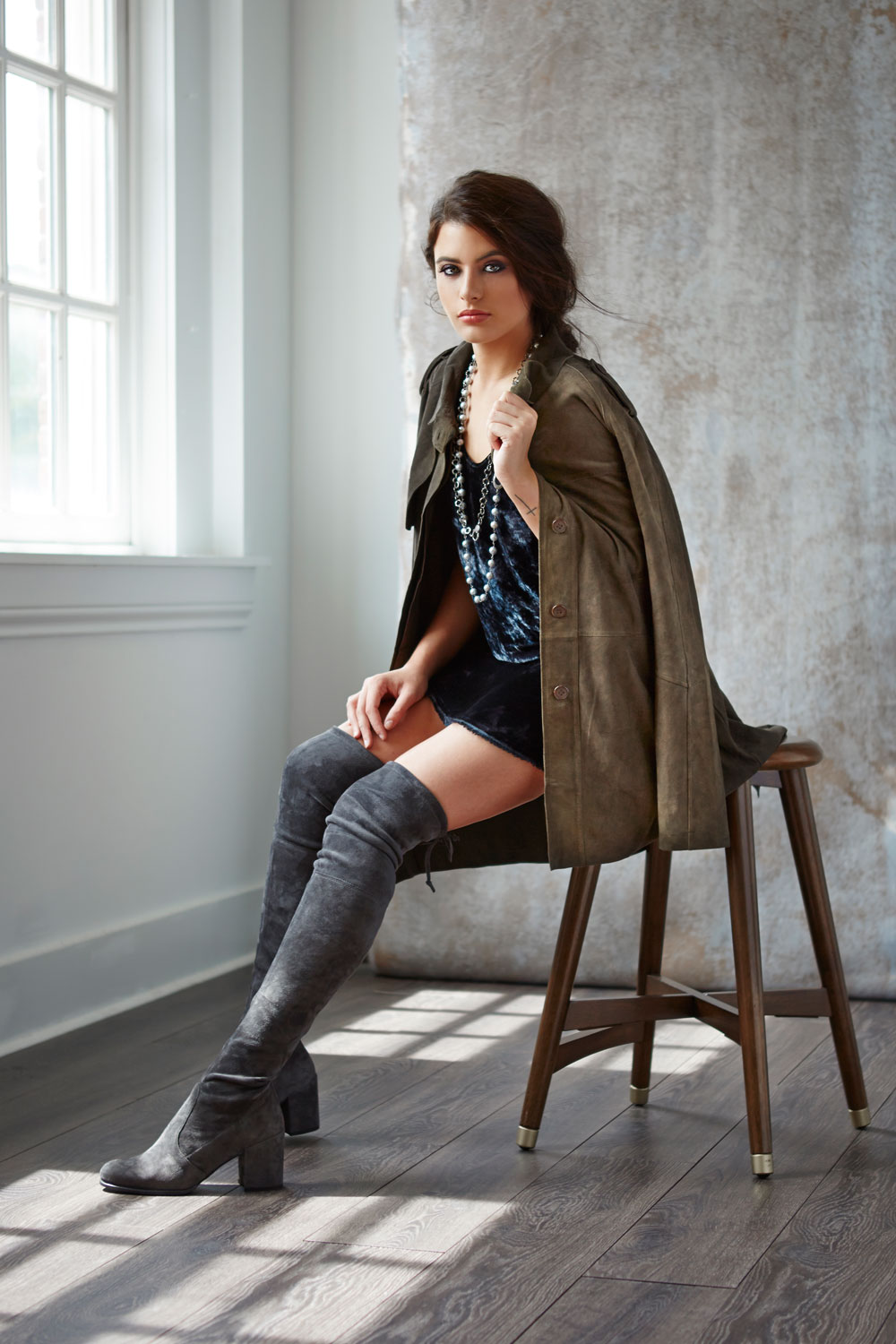 Jakett suede jacket, Raquel Allegra crushed velvet dress, The Woods necklace, Stuart Weitzman over-the-knee boot