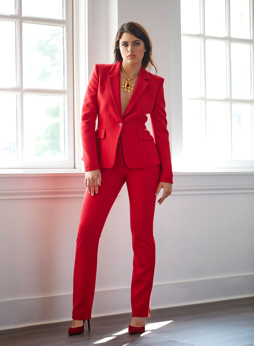 Altuzzara suit, Stuart Weitzman heels, Chanel necklace