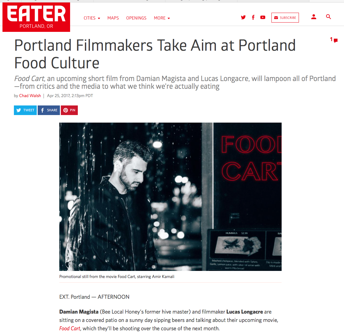 """I also enjoyed poking fun at the self-seriousness of the food world,"" Longacre echoes. ""I adore the food scene in Portland—it's one of the reasons I moved here—and I hope the film is received as a lampoon and not an attack. The people we are satirizing are my friends and I really wanted them in on the joke. The only way we improve is by taking a serious, unabashed look in the mirror, and that was our intention with making this film. Well, first to entertain. Then to hopefully educate, just a little."" - Chad Walsh - Eater PDX"