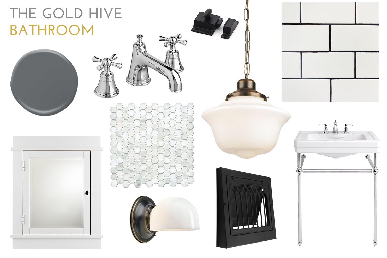 The Gold Hive Bathroom Mood Board