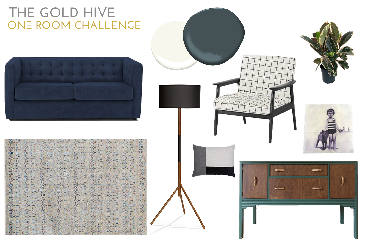 One Room Challenge Mood Board - The Gold Hive