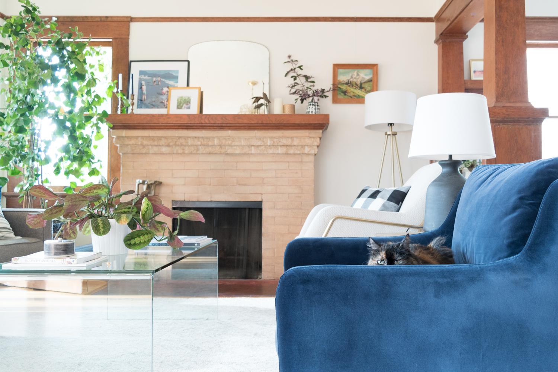 blue velvet living room chair