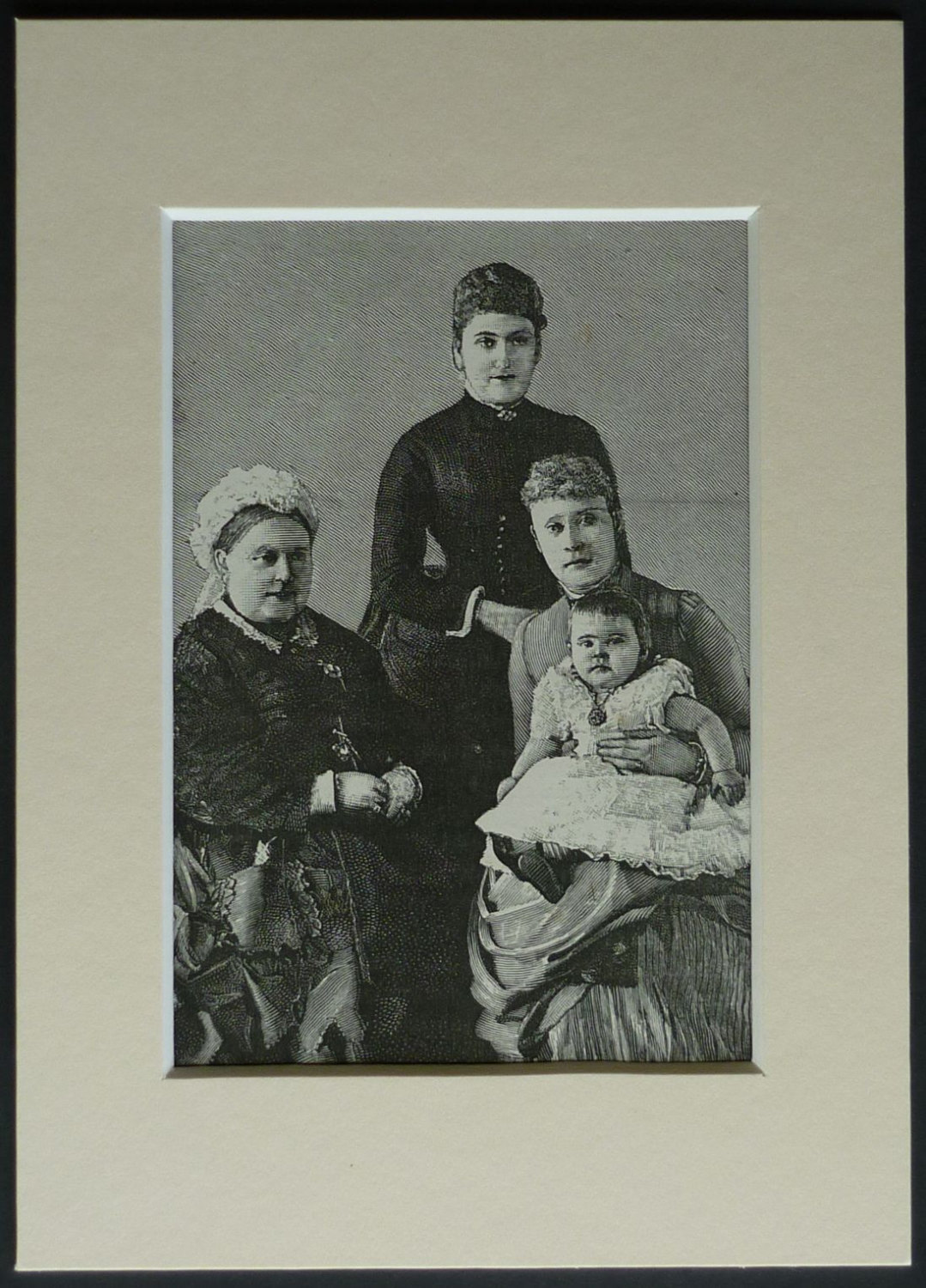 1880s Antique British Historical Print of Four Generations of Royalty - 19th century Queen Victoria portrait, Victorian wood engraving art