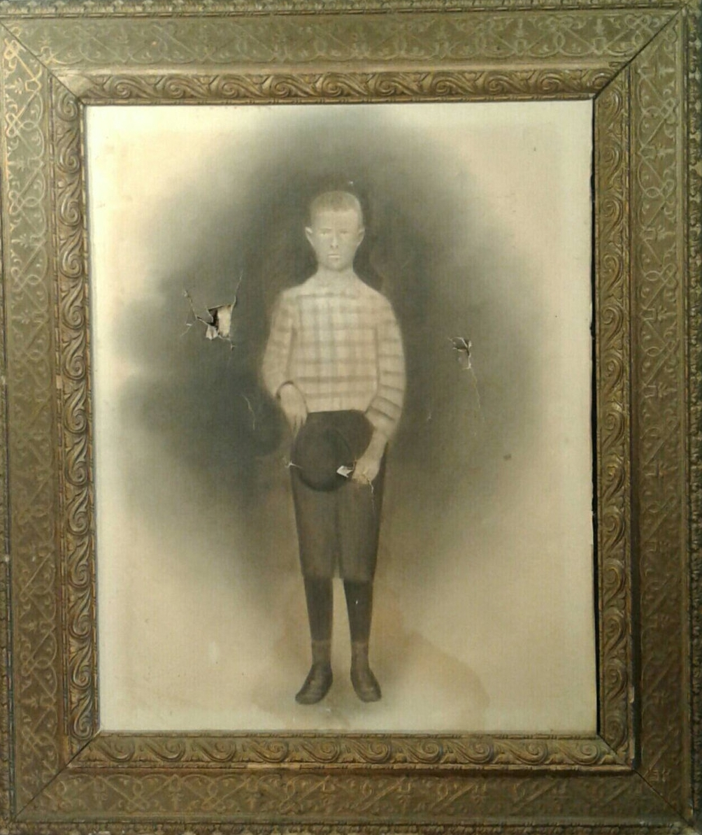 Original Antique Primitive Art 1800's Paper On Canvas Monotone Portrait Young Boy Hat Knickers Large Ornate Wooden Plaster Gold Frame Creepy