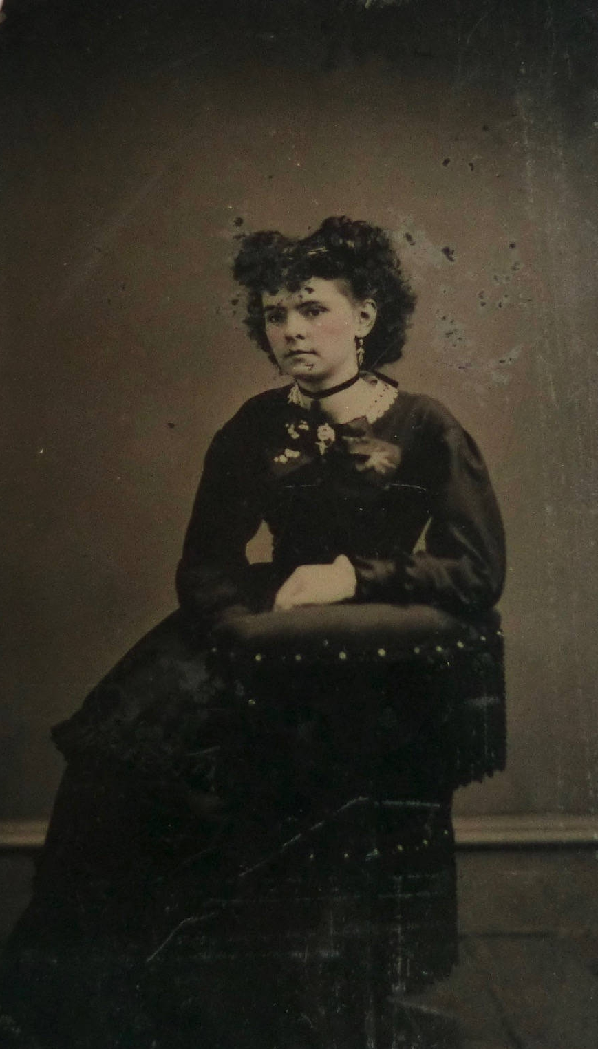 Tintype Photo Pretty Young Woman Great Hair and Victorian Accessories