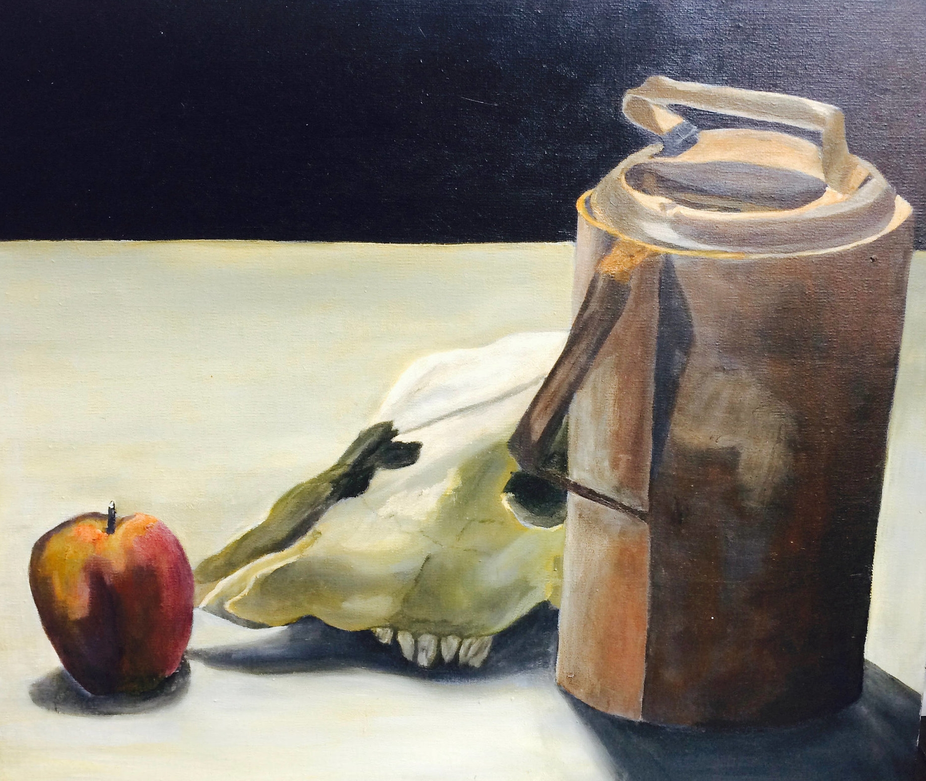 Vintage Original Still Life Painting With Apple & Skull/Vintage Original Painting/Still Life Painting/Acrylic Painting/Skull