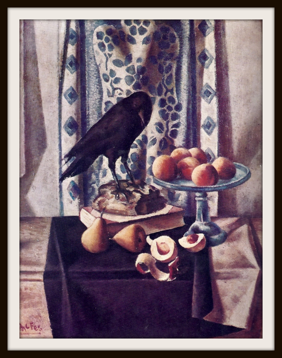 Crow with Peaches by McFee Book Print (1962), Frameable Wall Art, Contemporary Still Life, Black Bird, Orange Fruit, Blue White, Dramatic