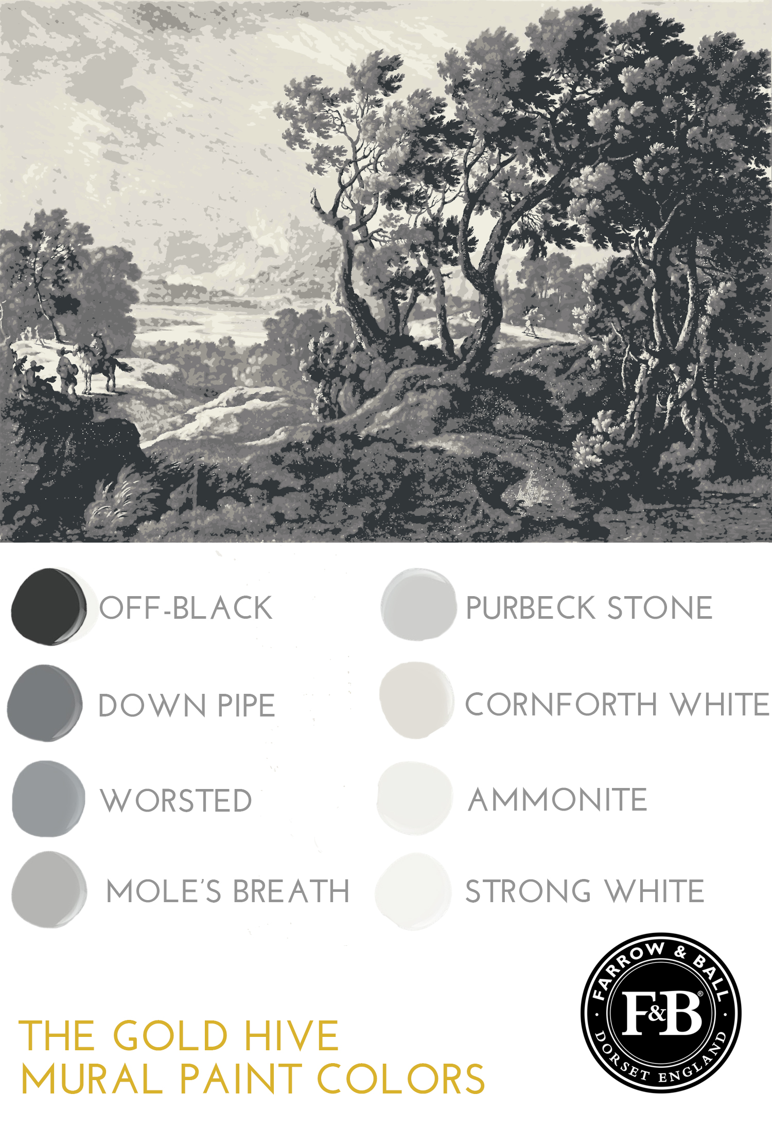 Farrow & Ball grey paint colors for mural off-black down pipe worsted mole's breath purbeck stone corn forth white ammonite strong white