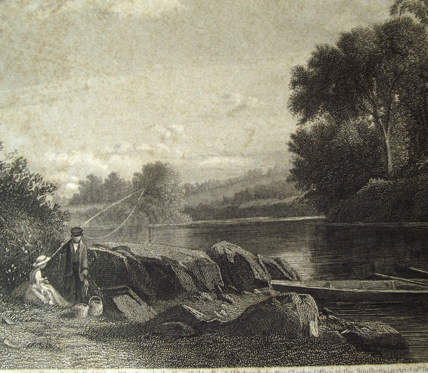 Antique Steel Engraving - Evening on the Connecticut by A. D. Shattuck - W Wellstood