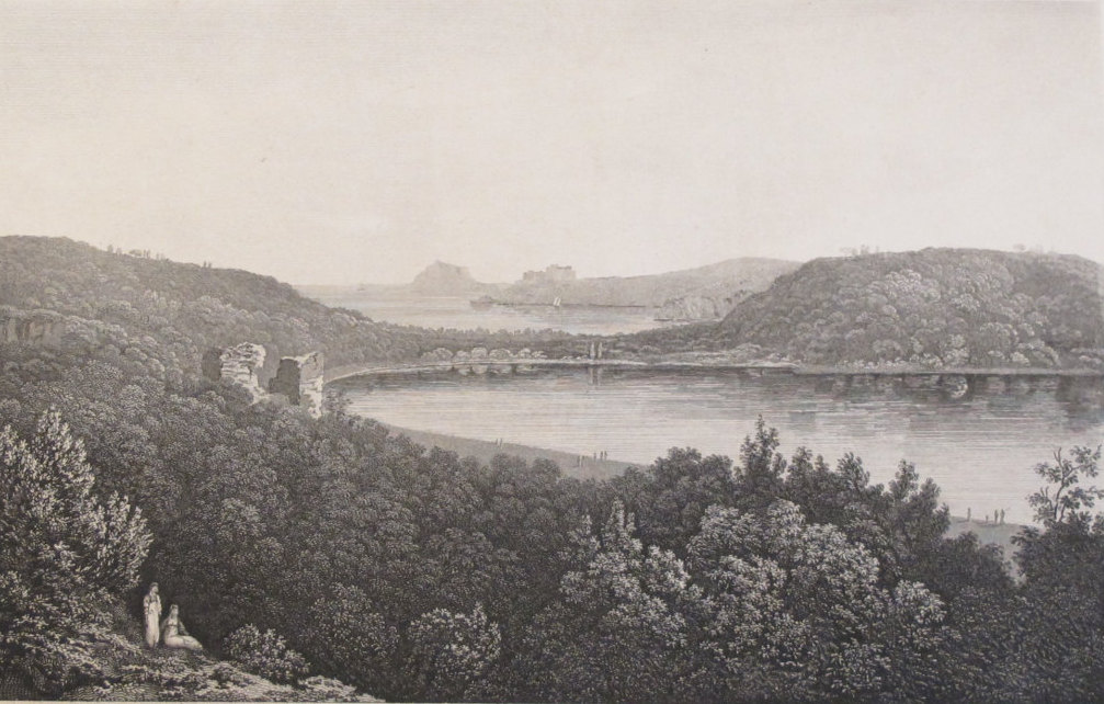 1820 Engraving of Lake Avernus, Matted - Elizabeth Frances Batty, Nature Print, Black and White Landscape Print
