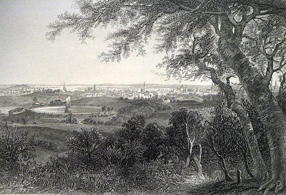 1873 The City Of Baltimore * Vintage Steel Engraved Print Art Engraving Picturesque America Beautiful Original Landscape Illustration