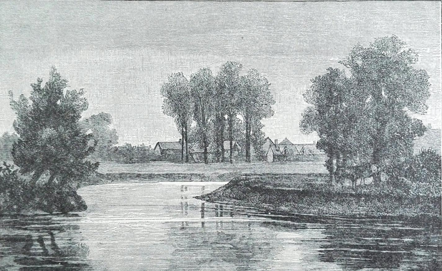 Sutton Weir Victorian print calm river art vintage black and white mounted antique
