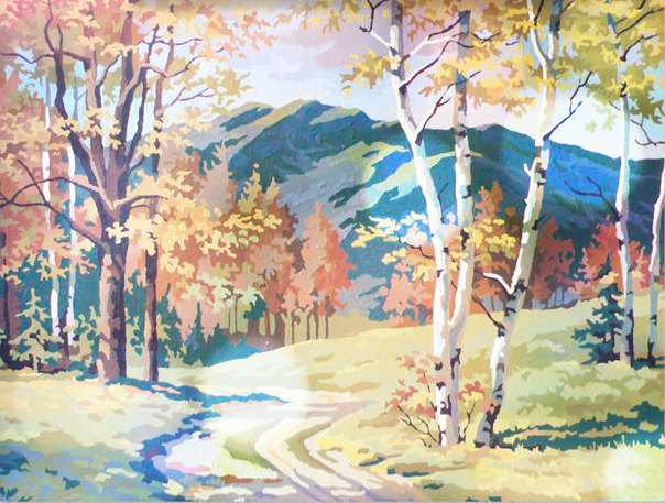 Vintage Paint by Number, Mountain Road, Woods, Countryside, Print Your Own, Instant Art, Digital Download, Print up to