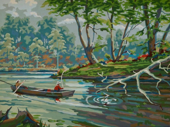 Mid Century Paint by Number Outdoor Woods with Fishermen