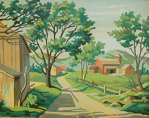 Paint By Number Landscape, Large Vintage Paint by Number Paintings, Barnyard Scene, Pastoral Landscape Artwork, Large Framed PNB Painting