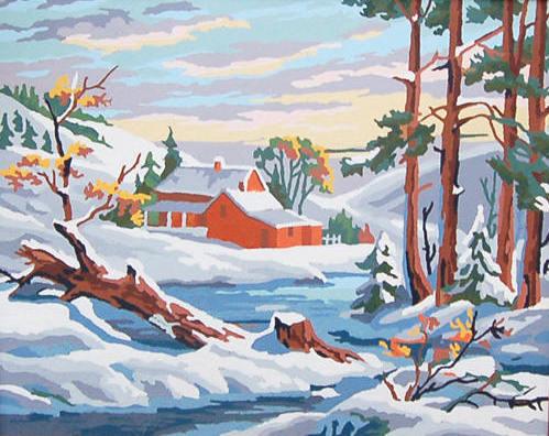 Paint By Number Landscape, Vintage Rural PBN Painting, Farm Snow Scene, Winter Landscape Artwork, Framed PNB, Gallery Art, Wintry Landscape
