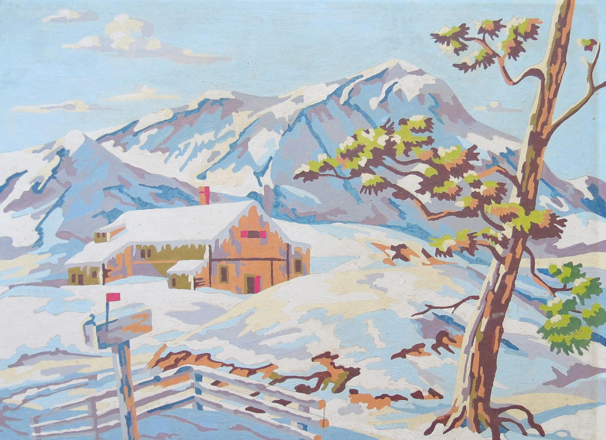 Paint By Number Winter Scene // Vintage Retro Amateur Art Forest Mountain Landscape Rustic Cottage Decor Colorful Collectible Affordable Art