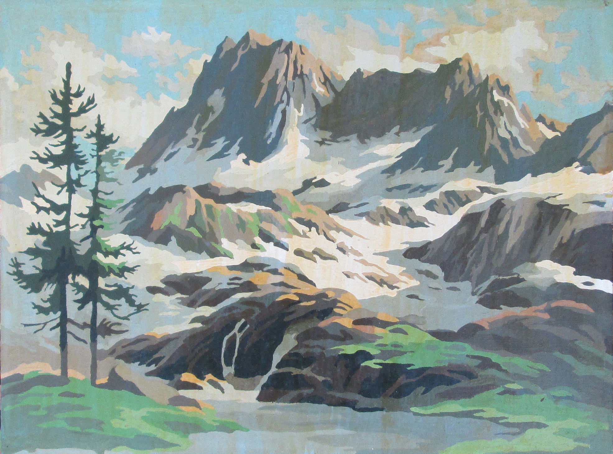 Vintage Paint by Number Mountain Landscape Painting 1964 Craft Master PBN Unframed 1960's