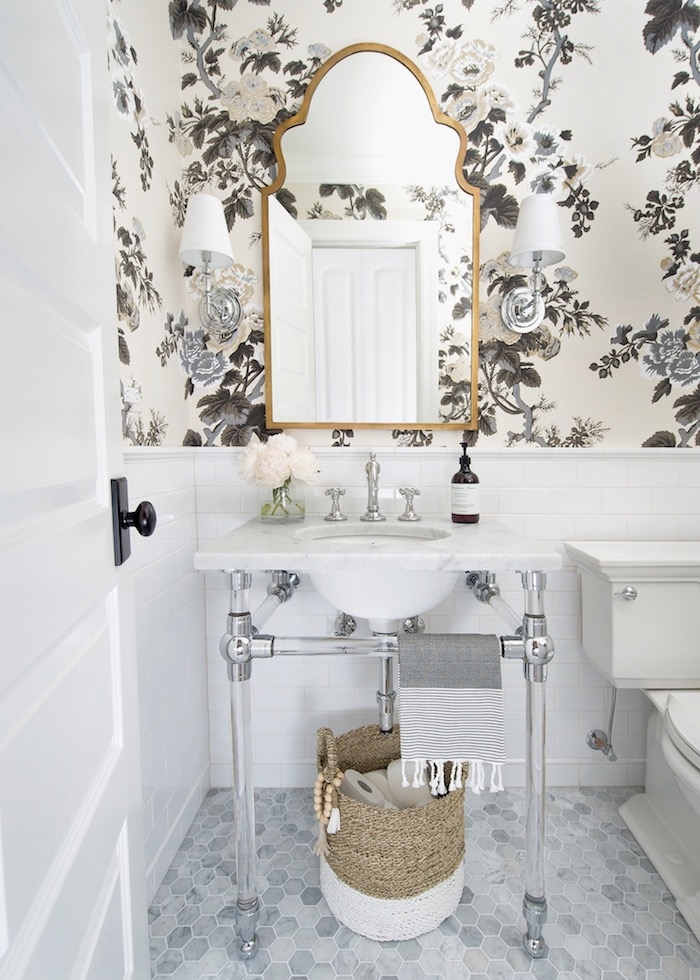 Powder+Room+with+RH+glass+console+sink,+Schumacher+Pyne+Hollyhock+wallpaper,+white+subway+tile,+2_+hex+marble+flooring+&+traditional+styling.jpeg