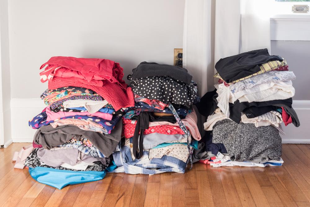 KonMari style closet wardrobe organizing
