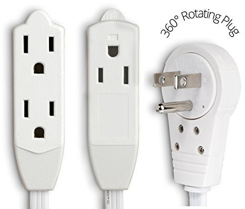 Extension Cord with Flat Plug and Multiple Outlets