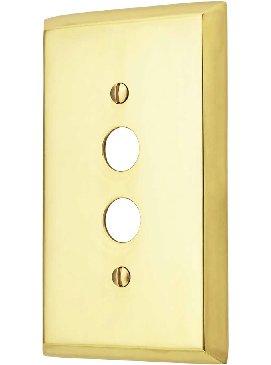Traditional Single Gang Push Button Switch Plate In Forged Brass
