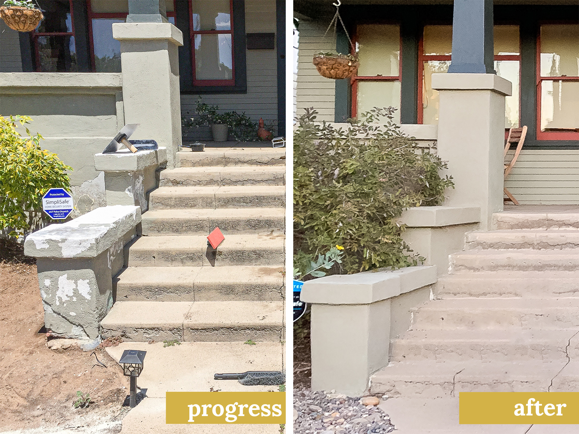 the gold hive before and after of stucco repair.jpg