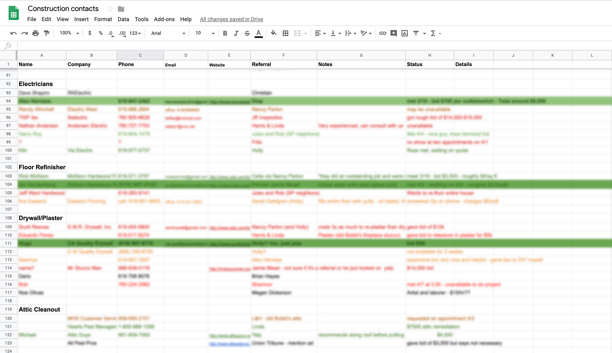 The Gold Hive Home Organization, Maintenance, and Improvement Binder-Spreadsheet of construction contacts.jpg