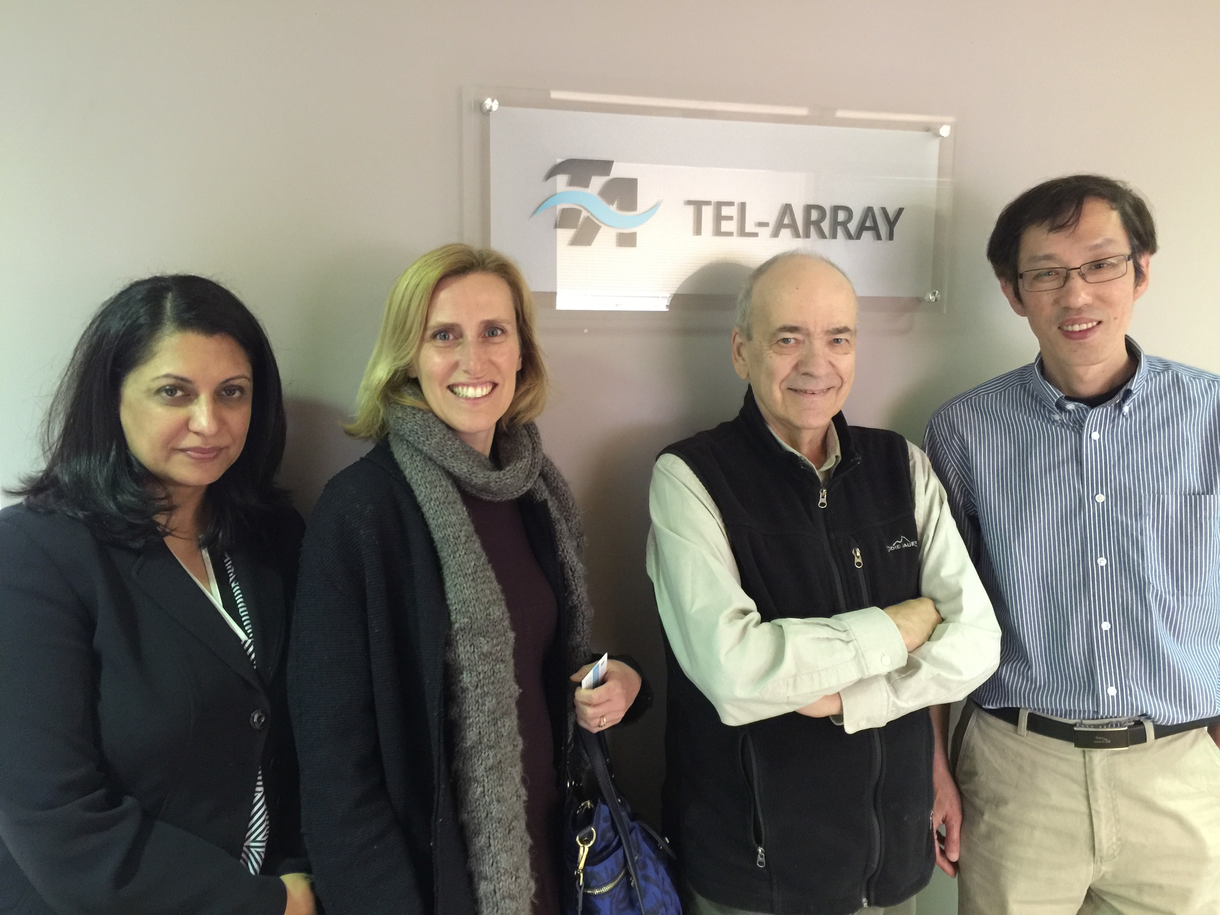 (L-R) Salima Jethani, Laetitia MacDougall and Tel-Array co-founders, Dr. William Campbell and Dr. Hong Zhang
