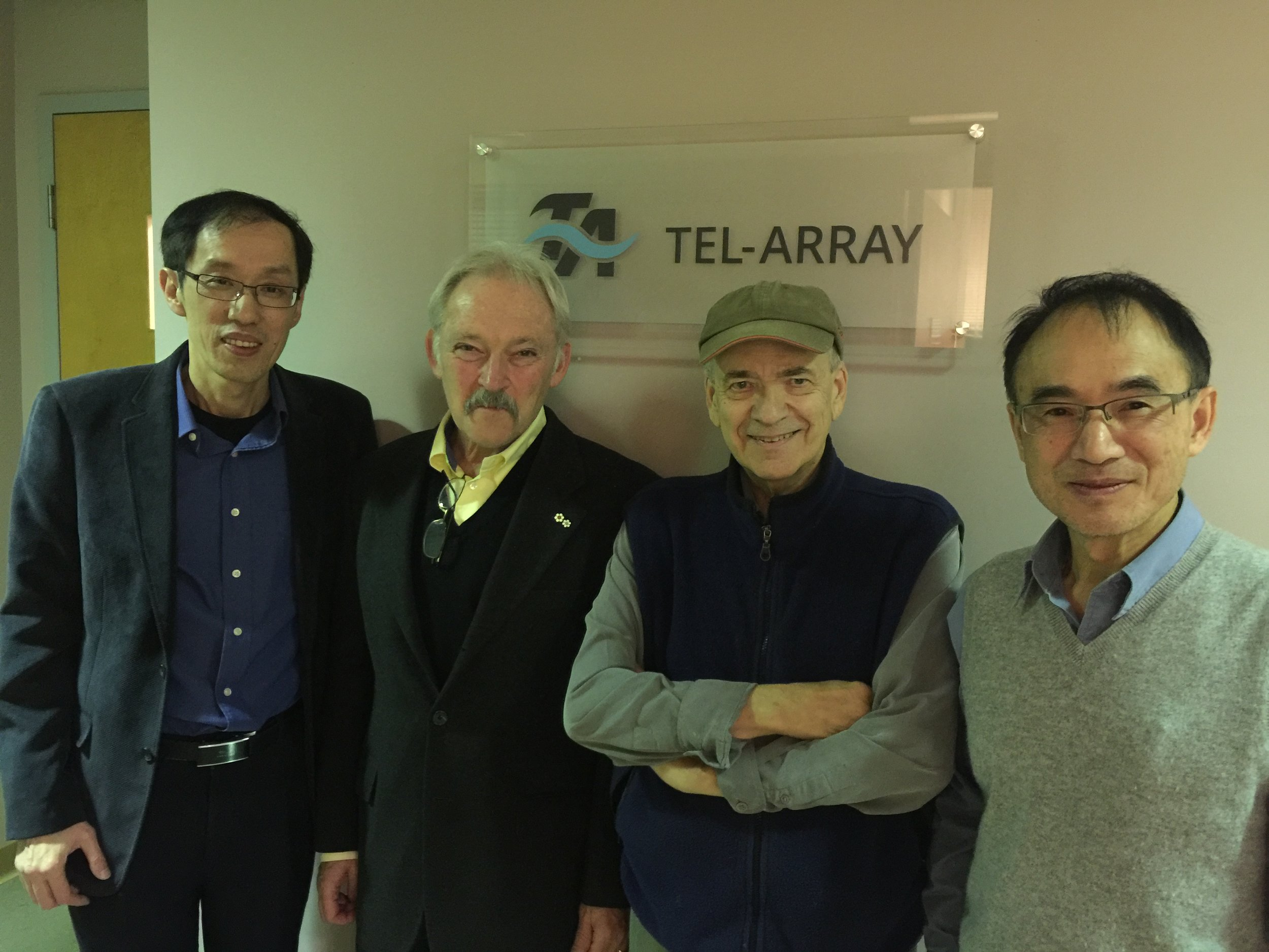 Dr. Max Cynader (2nd from the left) and Tel-Array co-founders and management