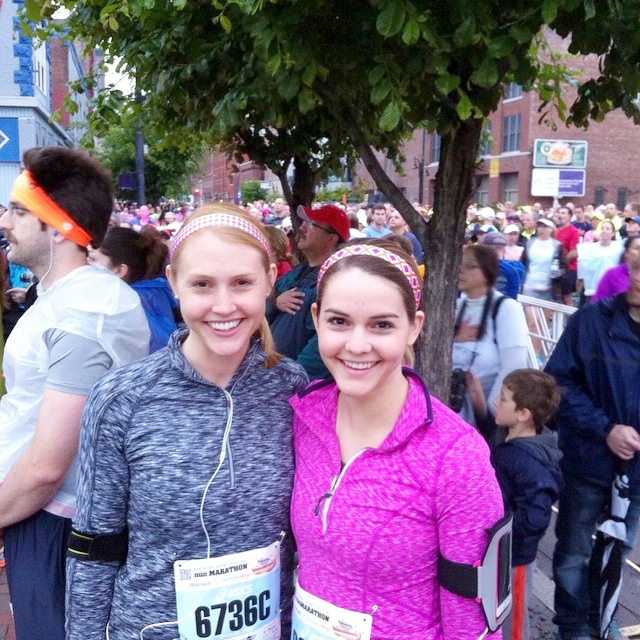 Photo circa 2015, when we were in better shape and sporting coordinating headbands at the Kentucky Derby Mini-Marathon.