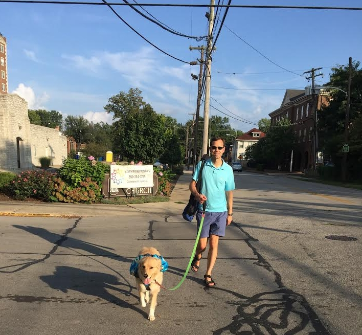 Heading to an outdoor concert downtown. Annabelle carries her own water and treats in her Outward Hound pack.