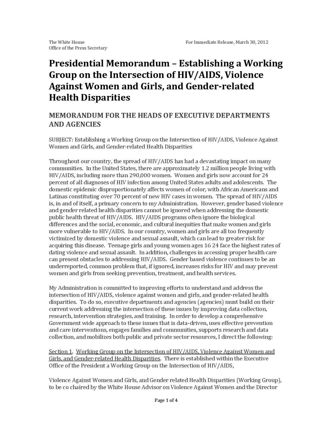 WH_PresMemo-EstabWrkgGrpIntersectionHIV-AIDS-VAWandGirlsandGender-RelatedHealthDisparities_3-30-2012-page-001.jpg