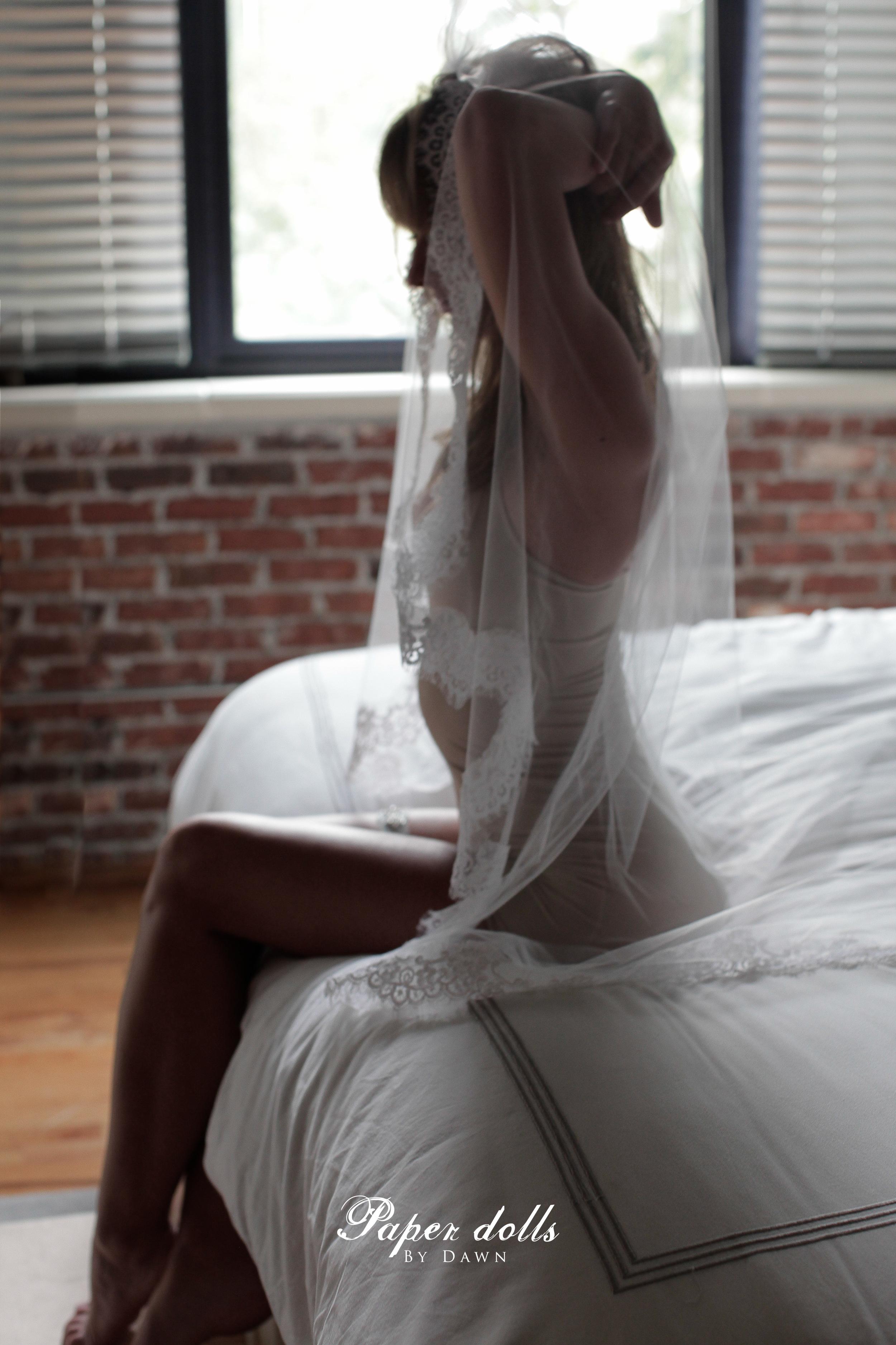 atlanta boudoir pose wedding veil bride